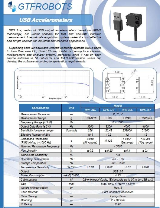 USB accelerometer catalog